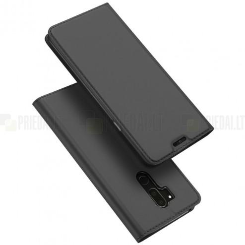 """LG G7 ThinQ """"Dux Ducis"""" Skin sērijas melns ādas atvērams maciņš"""