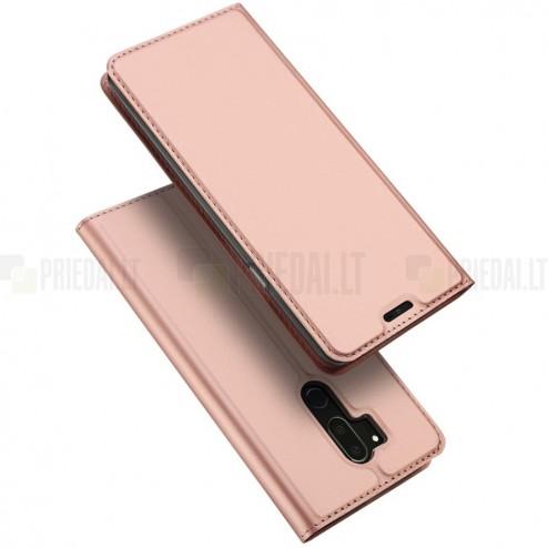 """LG G7 ThinQ """"Dux Ducis"""" Skin sērijas rozs ādas atvērams maciņš"""