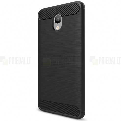 "Meizu m5 note ""Carbon"" cieta silikona (TPU) melns apvalks"