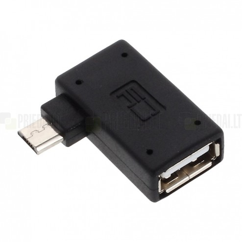 Micro USB 2.0 OTG melns stūrains (kreisais) adapteris - vads