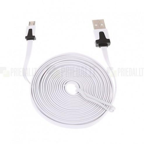 Micro usb balts vads 3 m. ar melniem akcentiem (kabelis