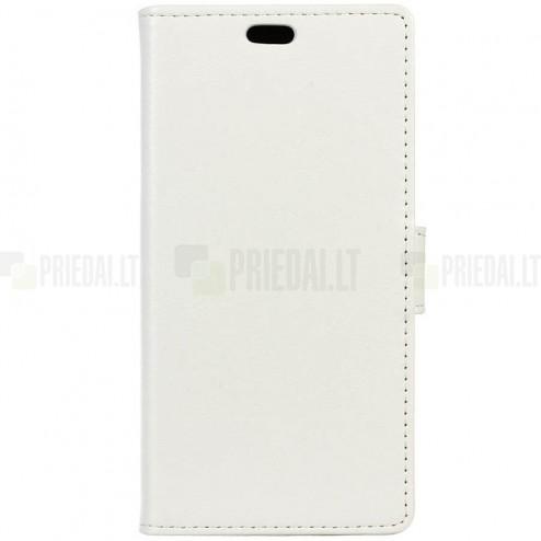 Motorola Moto G4, Moto G4 Plus atvēramais ādas balts maciņš, grāmata (maks)