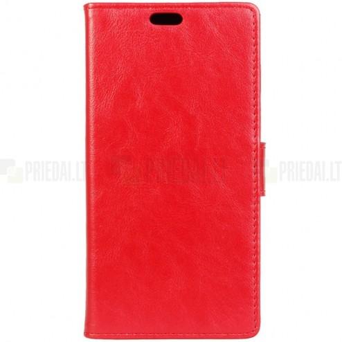 Motorola Moto G4, Moto G4 Plus atvēramais ādas sarkans maciņš, grāmata (maks)