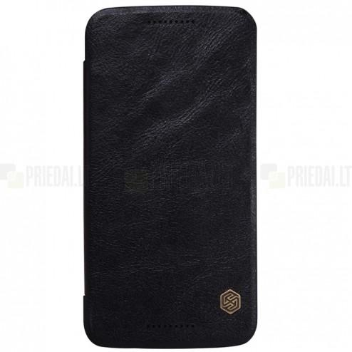 """Greznais """"Nillkin"""" Qin sērijas ādas atvērams melns Motorola Moto X Style maciņš (maks)"""