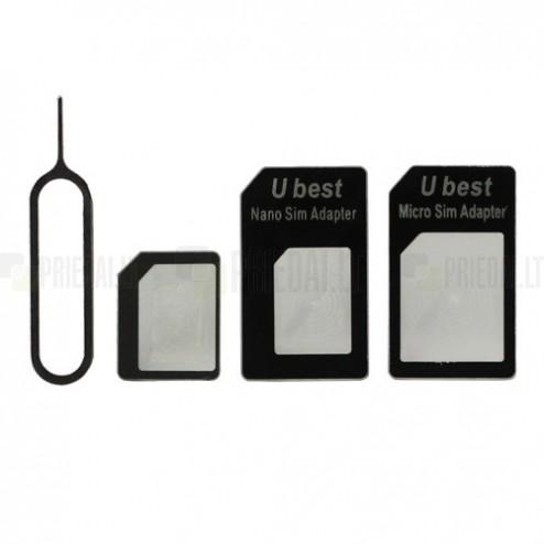 Nano SIM > Micro SIM > SIM adapteris + bīdama (eject pin)