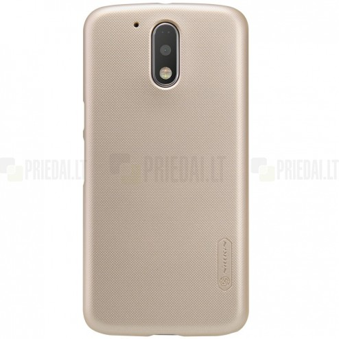 Motorola Moto G4, Moto G4 Plus Nillkin Frosted Shield zelta plastmasas apvalks + ekrāna aizsargplēve