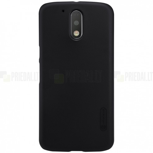 Motorola Moto G4, Moto G4 Plus Nillkin Frosted Shield melns plastmasas apvalks + ekrāna aizsargplēve