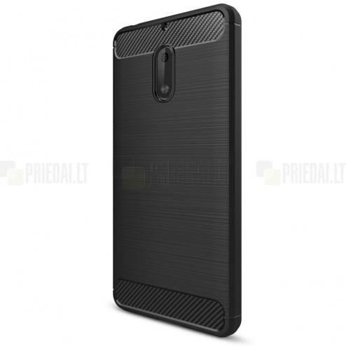 """Nokia 6 """"Carbon"""" cieta silikona (TPU) melns apvalks"""