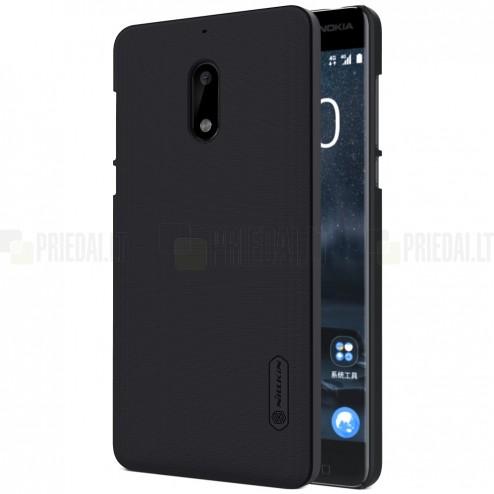 Nokia 6 Nillkin Frosted Shield melns plastmasas apvalks + ekrāna aizsargplēve