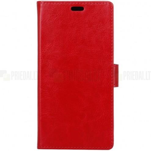 Nokia 6 atvēramais ādas sarkans maciņš, grāmata (maks)