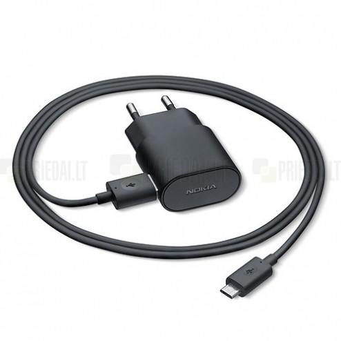 """Origināls """"Microsoft"""" melns tīkla lādētājs (AC-60E, Eiropas modelis) ar micro USB vadu"""