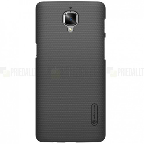 OnePlus 3 (Three) Nillkin Frosted Shield melns plastmasas apvalks + ekrāna aizsargplēve