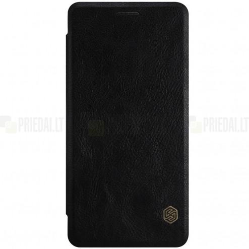 """Greznais """"Nillkin"""" Qin sērijas ādas atvērams melns OnePlus 3 (Three) maciņš"""