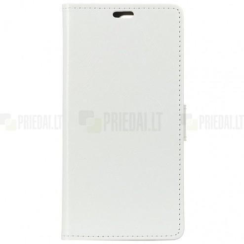 OnePlus 6 (Six) atvēramais ādas balts maciņš, grāmata (maks)