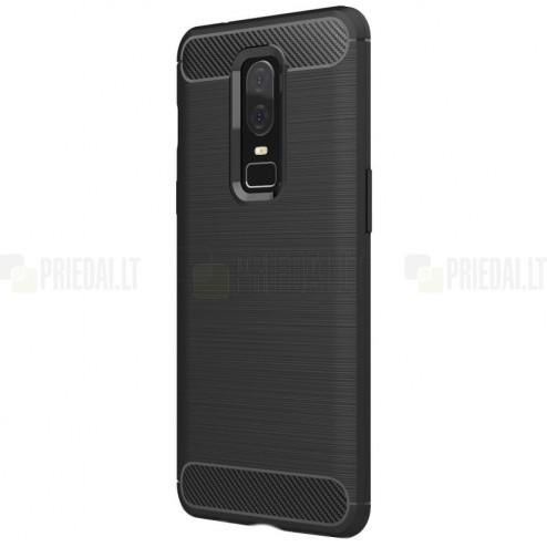"""OnePlus 6 (Six) """"Carbon"""" cieta silikona (TPU) melns apvalks"""
