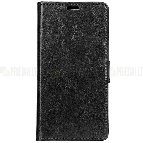 OnePlus 6 (Six) atvēramais ādas melns maciņš, grāmata (maks)