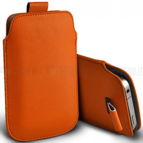 Universāla oranža ieliktņa ādas - futrālis (L izmērs)
