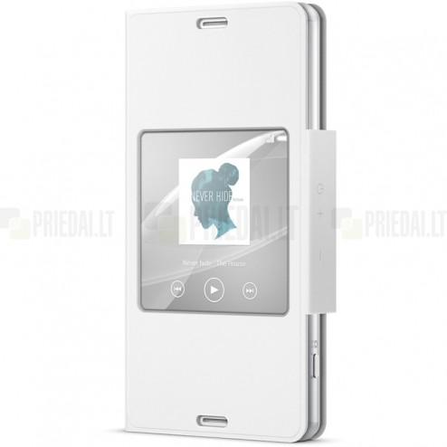 Oficiāls Sony Xperia Z3 Compact Style Cover Window balts atvērams maciņš SCR26