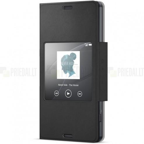 Oficiāls Sony Xperia Z3 Compact Style Cover Window melns atvērams maciņš SCR26