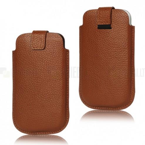 Brūna ādas telefona ieliktņa (L izmērs)