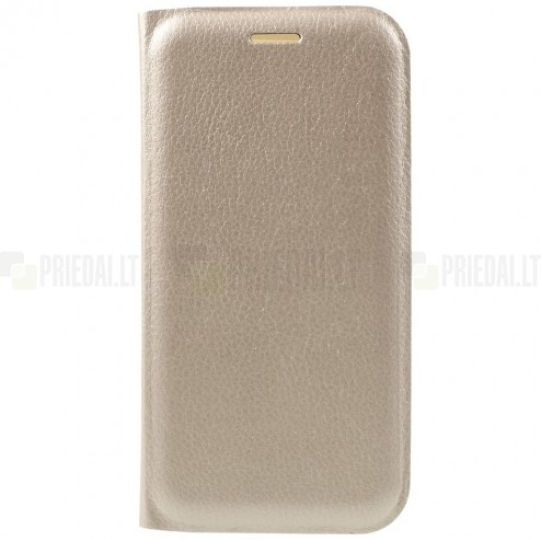 Samsung Galaxy A5 2017 (A520) zelta atvēramais Smart Wallet ādas maciņš - maks