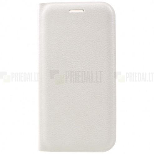 Samsung Galaxy A5 2017 (A520) balts atvēramais Smart Wallet ādas maciņš - maks