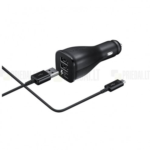 "Origināls ""Samsung"" Adaptive Fast Charging EP-LN920B melns autolādētājs ar micro USB vadu (2000 mA / 1670mA)"