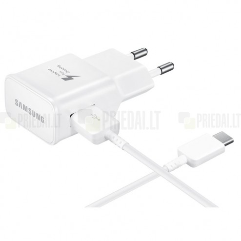 """Origināls """"Samsung"""" Fast Charge balts tīkla lādētājs (2A) ar USB Type-C vadu EP-TA20EVE"""