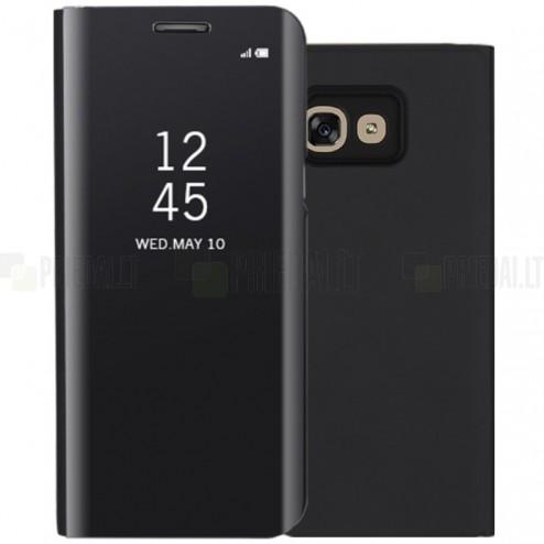 Samsung Galaxy A5 2017 (A520) plastmasas atvērams melns ādas maciņš