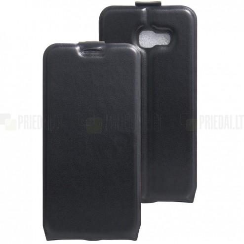 Samsung Galaxy A5 2017 (A520) vertikāli atvēramais ādas melns maciņš (maks)