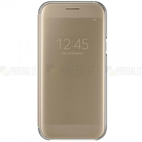 Samsung Galaxy A5 (2017) A520 oficiāls Clear View Cover atvērams zelta ādas maciņš