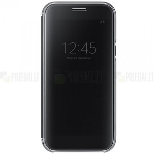 Samsung Galaxy A5 2017 (A520) oficiāls Clear View Cover atvērams melns ādas maciņš