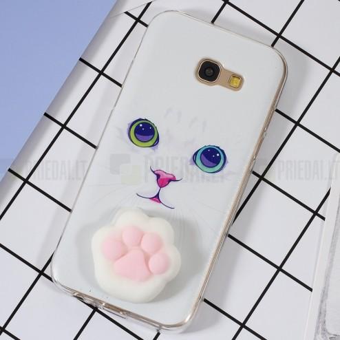 "Samsung Galaxy A5 2017 (A520) ""Squezy"" Pėdutė cieta silikona (TPU) balts apvalks"