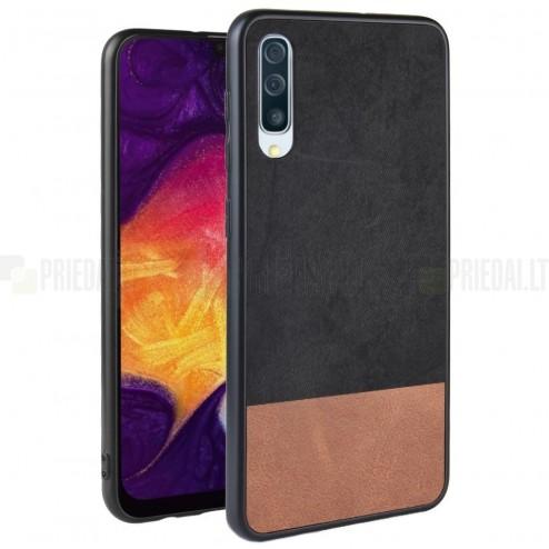 "Samsung Galaxy A70 (A705F) ""Bi-Color"" Splicing brūns, melns ādas apvalks"