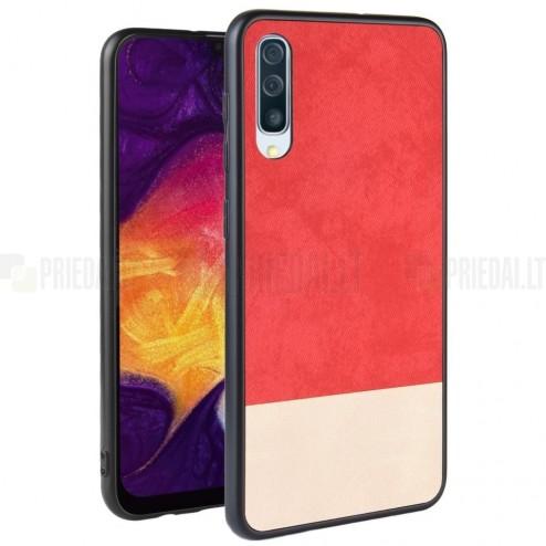 "Samsung Galaxy A70 (A705F) ""Bi-Color"" Splicing smilšains, sarkans ādas apvalks"