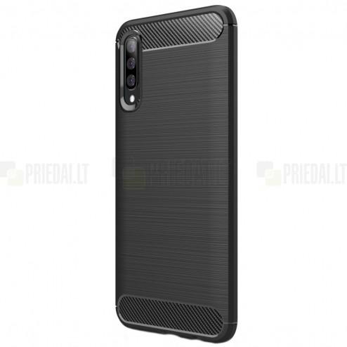 "Samsung Galaxy A70 (A705F) ""Carbon"" cieta silikona (TPU) melns apvalks"