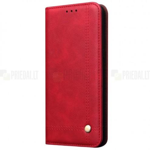 """Samsung Galaxy A70 (A705F) """"Deluxe"""" ādas atvēramais sarkans maciņš (maks)"""
