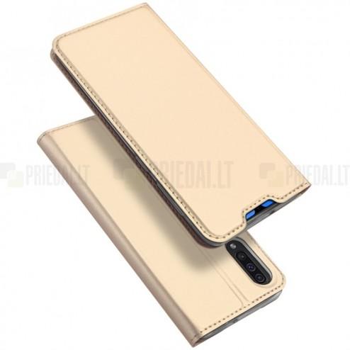"""Samsung Galaxy A70 (A705F) """"Dux Ducis"""" Skin sērijas zelta ādas atvērams maciņš"""