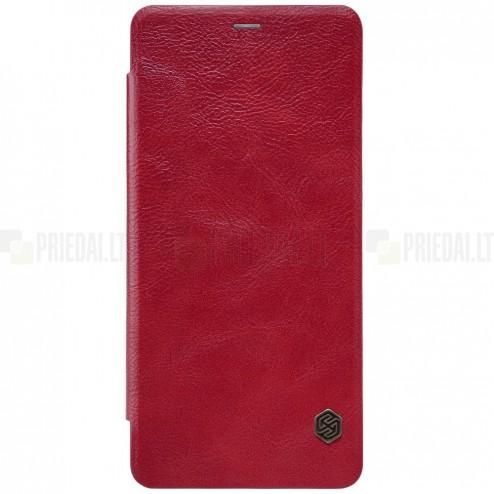 """Greznais """"Nillkin"""" Qin sērijas ādas atvērams sarkans Samsung Galaxy A8+ 2018 (A730F) maciņš"""