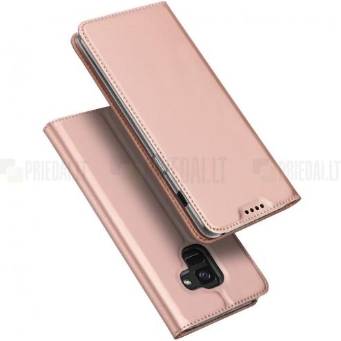 """Samsung Galaxy A8+ 2018 (A730F) """"Dux Ducis"""" Skin sērijas rozs ādas atvērams maciņš"""