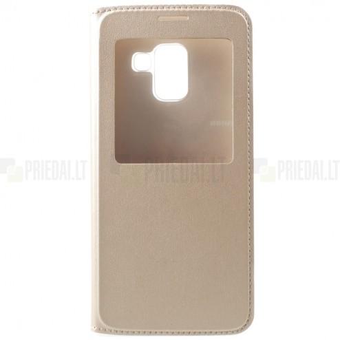 """Samsung Galaxy A8+ 2018 (A730F) zelta atvēramais """"View Window"""" ādas maciņš"""