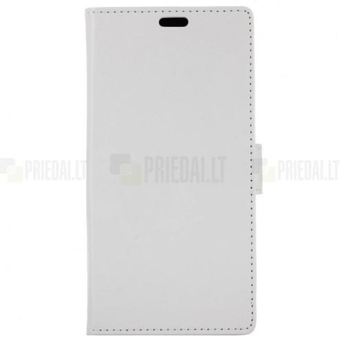 Samsung Galaxy A8+ 2018 (A730F) atvēramais ādas balts maciņš, grāmata (maks)
