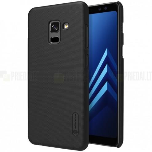 Samsung Galaxy A8+ 2018 (A730F) Nillkin Frosted Shield melns plastmasas apvalks + ekrāna aizsargplēve