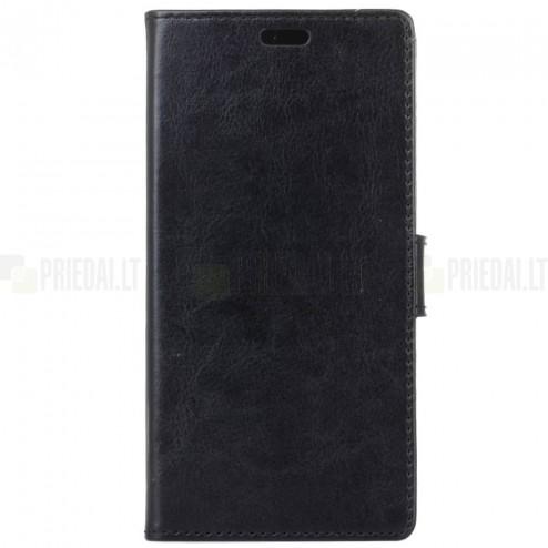 Samsung Galaxy A8+ 2018 (A730F) atvēramais ādas melns maciņš, grāmata (maks)