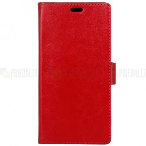 Samsung Galaxy A8+ 2018 (A730F) atvēramais ādas sarkans maciņš, grāmata (maks)