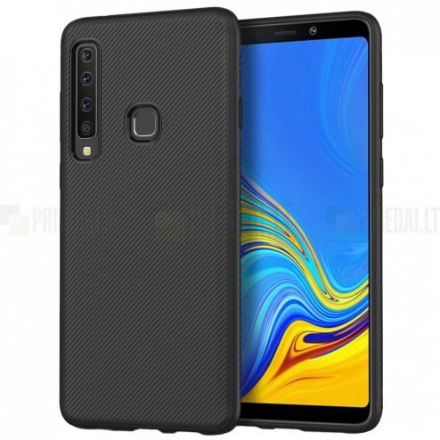 "Samsung Galaxy A9 2018 (A9 Star Pro) ""Twill"" cieta silikona (TPU) melns apvalks"