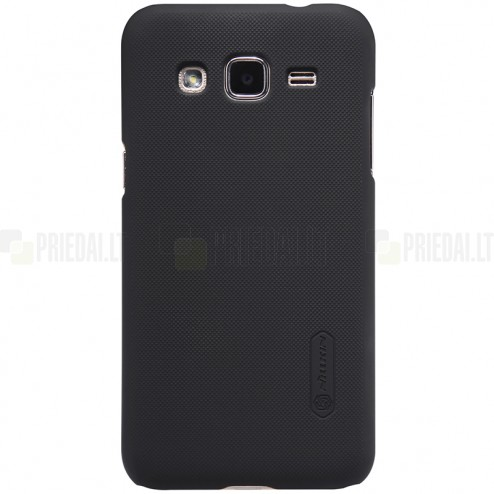 Samsung Galaxy J2 (J200) Nillkin Frosted Shield melns plastmasas apvalks + ekrāna aizsargplēve