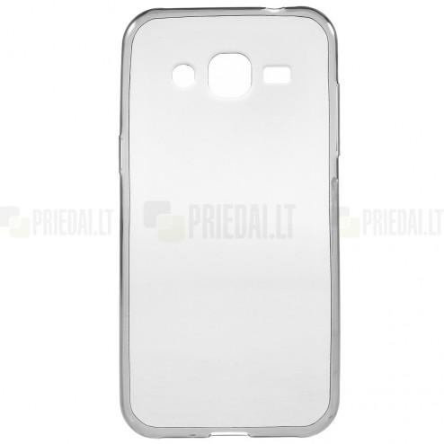 Samsung Galaxy J2 (J200) dzidrs (caurspīdīgs) cieta silikona TPU pasaulē planākais pelēks apvalks