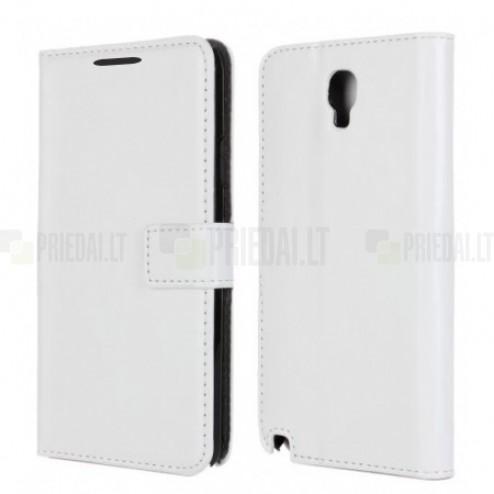Samsung Galaxy Note 3 Neo (N7505, N7500, N7502) atvēramais balts ādas futrālis - maciņš