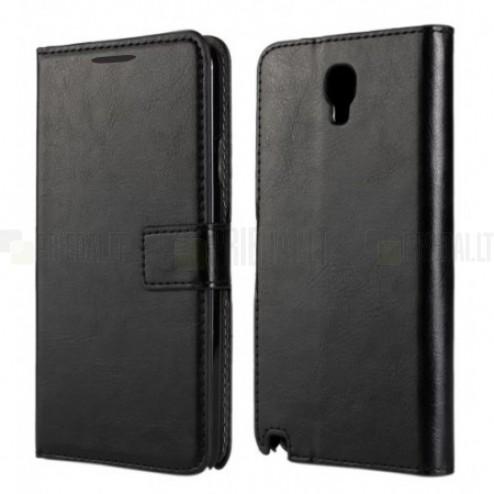 Samsung Galaxy Note 3 Neo (N7505, N7500, N7502) atvēramais melns ādas futrālis - maciņš